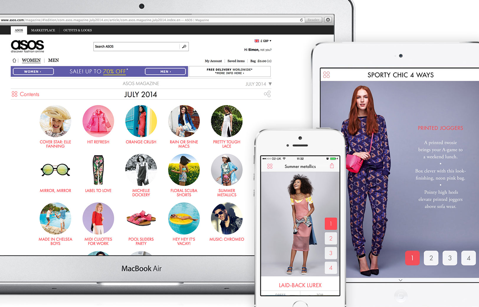 ASOS iPad, iPhone and web app